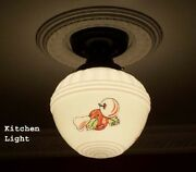 181 Vintage 1940s 50's Ceiling Light Lamp Fixture Glass Kitchen Re-wired 1 Of 3