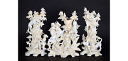 Rare 1900 French Bisque Porcelain Hunting Set Of 3 Vases Lion Panther Scenes