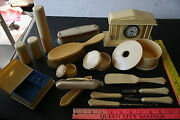Lot Of 16 Vintage Antique Celluloid French Ivory Clock Box And Vanity Items
