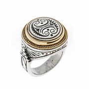 Savati 22k Solid Gold And Sterling Silver Double Axe Labrys Menand039s Ring