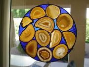 12inch Stained Glass Window Of Brazilian Agate Slabs /blue Background