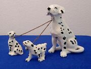 Vintage 1950's Figurine Set-mother Dalmation And Her 2 Puppies By Wales, Japan