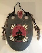 End Of The Trail Hanging Pottery Canteen Signed Hanging Vase Native American