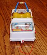 Vintage Disney Vehicle Pull Toy Monorail Car Three Wheels Rollers Mickey Donald