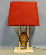 Mid Century Agate Lamp Marble Base Attr. Belgian Willy Daro 1970and039s