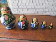 Beautiful 5 Piece Hand Painted Wooden Russian Dolls Blue / Black Floral Finish