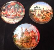 Lot Of 3 Bradex Listed Russian Collector Plates With Precious Metal Pigments 8