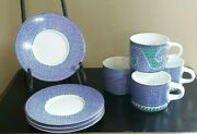 Dansk Mosaictiles Lot Of 8 4 Sets Cups And Saucers Dinnerware