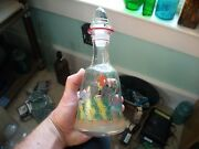 Really Neat Hand Painted Whiskey Decanter Man On Horse With Dog Trees W/ Stopper