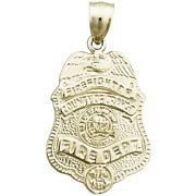 New Real Solid 14k Gold County Of Orange Fire Dept Badge Charm Pendant