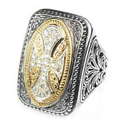 Gerochristo 2527 Solid Gold Silver And Diamonds - Medieval Byzantine Cross Ring