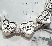 10 20 Silver Mom Heart Charms - Large Hole Beads - For Bracelets Mothers Day Diy