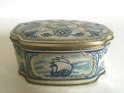 Vintage Delft Blue And White Dutch Oval Candy Tin Container Box Made In W.germany