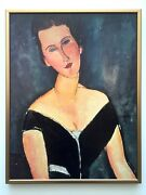 Modigliani Rare Vtg 1980and039s Lithograph Print Framed Poster Madame Georges 1917