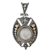 Savati 22k Solid Gold And Sterling Silver Byzantine Pendant With Mother Of Pearl