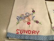 Vintage Embroidered Days Of The Week Tea Dish Towels Bluebirds Complete