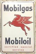 Mobil Oil Pegasus Special Service Metal Sign Old Ads Living Room Tin