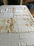 Art Deco White Linen With Gold Embroidery Window Piece Vintage Curtains