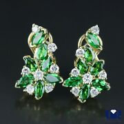 2.90 Ct Diamond And Tsavorite Earrings In 14k Yellow Gold With Omega Back