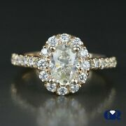1.81 Carat Oval Cut Yellow Diamond Halo Engagement Ring In 14k Rose Gold