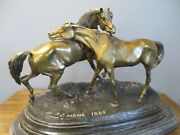 P.j. Mene Bronze Horses Statue L'accolades French 1869 On Marble Base