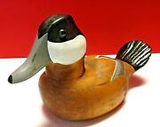Vintage Wbf Ii 2 Wooden Ruddy Duck Decoy Hand Painted Glass Eyes Moveable Head