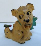 Antique Hubley Cast Iron Dog W/ Bow Fly On Tail Paperweight Figurine Rare