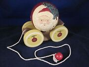 Briere Folk Art Pull Toy 1988 Signed Old Fashioned Santa Ball And Cart 650/1000