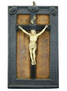 18th.c Antique French Jesus Christ Crucifix Cross Wall Frame Angels