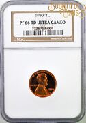 1950 Ngc Pf 66 Rd Ucam Lincoln Cent Ultra Cameo Red 1c Proof 66 Penny Dcam T13