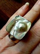 Rarity Rebecca Collins Natural Mabe Blister Pearl S/s Signed Adjustable Ring