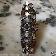 Vintage 5.10ct Rose Antique Cut Diamond Sapphire Silver Full Finger Ring Jewelry
