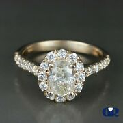 1.81 Ct Oval Cut Yellow Diamond Halo Engagement Ring In 14k Rose Gold