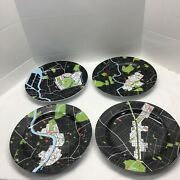 Notneutral City Map Dinner Plates Travel Your Choice Set Of 4 Rios Clementi Hale