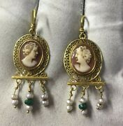 Gold Imperial Roman Filigree Earrings Set With Cameo And Decorated With Pearls