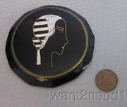 20s Vtg Antonin French Art Deco Lady Compact Black Celluloid Handpainted Flapper