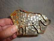 Scarce Antique Primitive Tin Lion Form Cookie Cutter With Dimpled Texture