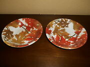 4 Victorian English Pottery Dinnerware Fall Leaves Bowls