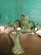 Owl On Tree Beautiful Vintage Replica Brass Statue Lucky Table Decor Gift Bm013