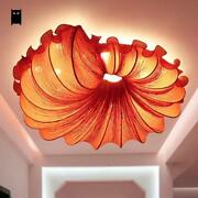 Red Fabric Conch Led Ceiling Light Fixture Art Deco Lamp For Bedroom Designer
