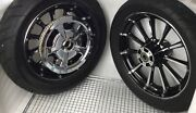 Harley 2009 Cvo Touring Front Chrome/black Roulette Wheels Rims, Tire And Pulley