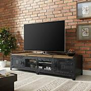 Industrial Style Tv Stand With Storage And Shelves For Tvand039s Up To 60 In Black