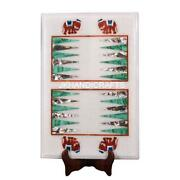 18 X 21 White Marble Backgammon Pay Game Table To Inlay Hallway Home Decor