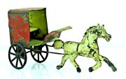 Vintage 1890's George Brown Hand Painted Tin Horse And Amish Cart Toy