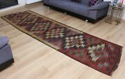 3.74and039 X 12.30and039 Kilim Rug Balkans Old Fast Shipment With Ups 384