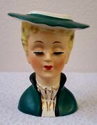 1950's Napco Head Vase A5120 Blonde Lady Wearing A Turquoise Jacket And Hat