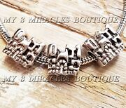 50 Silver Castle Charms - Large Hole Princess Beads European Style Diy Girl Gift
