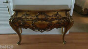 Antique Vintage Hollywood Regency Gold Guild Entry Table Ornate Italy Rococco