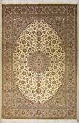 Rugstc 6.5x10 Senneh Pak Persian White Rug Hand-knottedfloral With Silk/wool