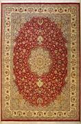 Rugstc 9x12 Senneh Pak Persian Red Area Rug Hand-knottedfloral With Silk/wool